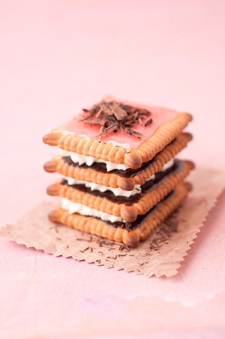 Rich tea biscuit, chocolate and whipped cream layered dessert