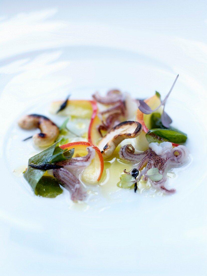 Squid,cashew,wakame seaweed and hijiki salad