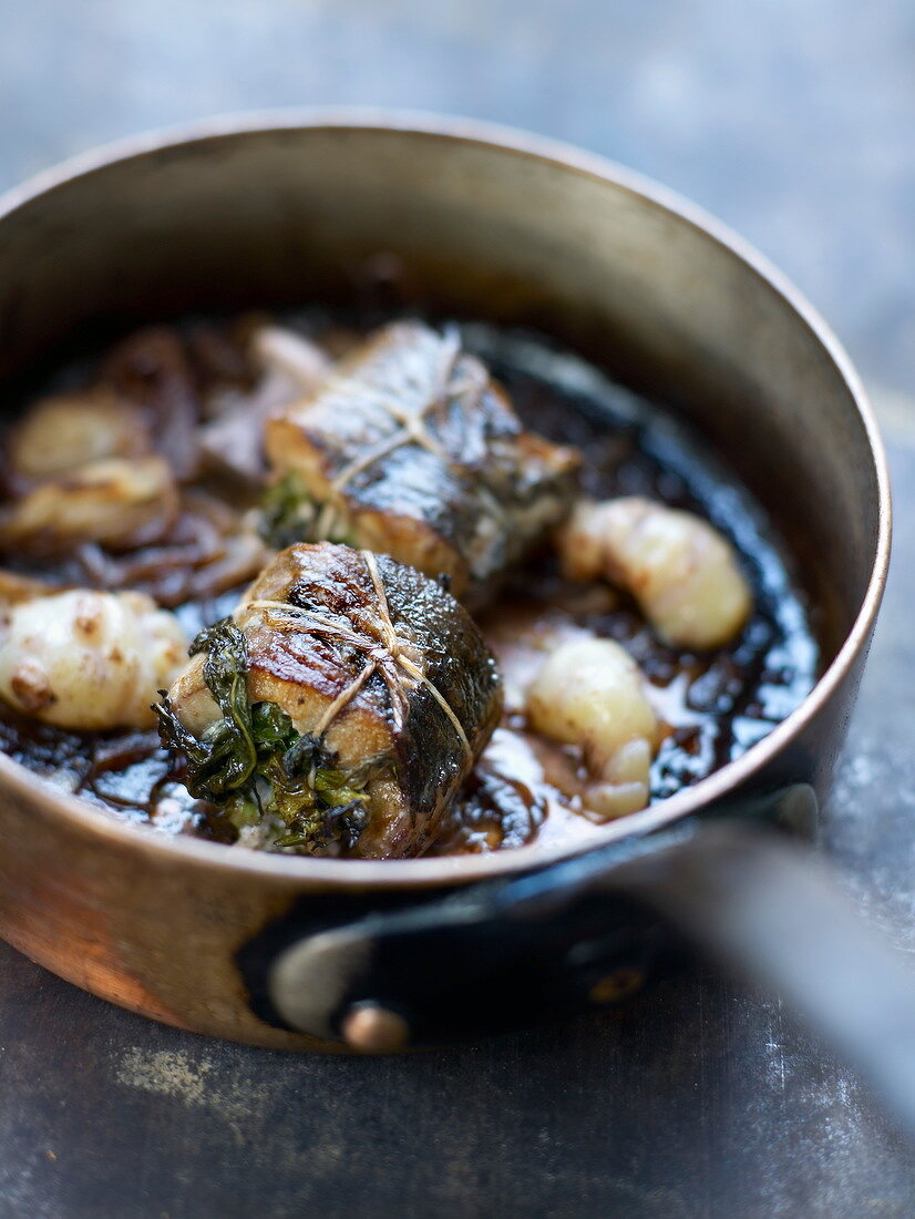 Eel fillets stuffed with herbs and crayfish