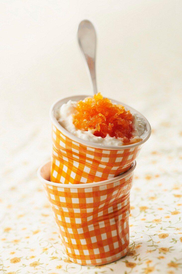 Faisselle with confit orange rinds