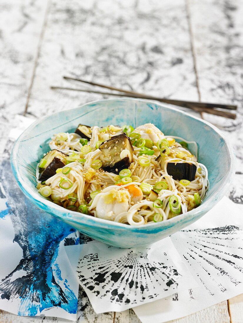Somen noodles with eggplants, quail's eggs and scallion