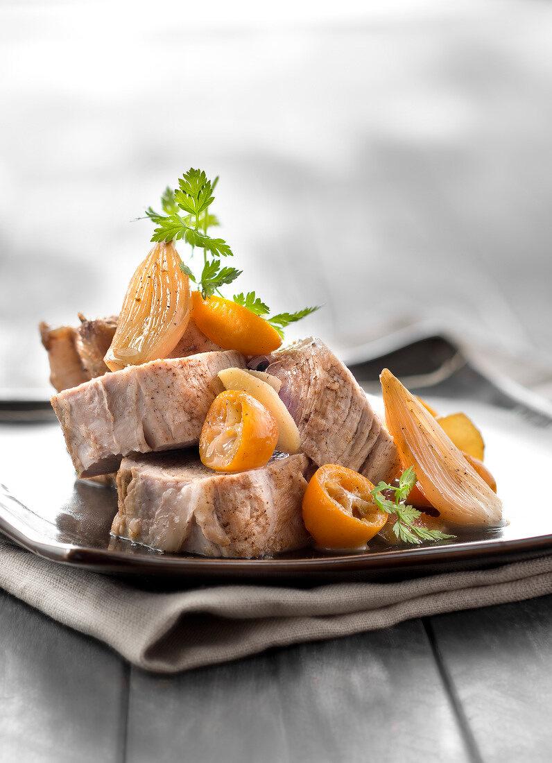 Pork Filet mignon with ginger,garlic and confit kumquats
