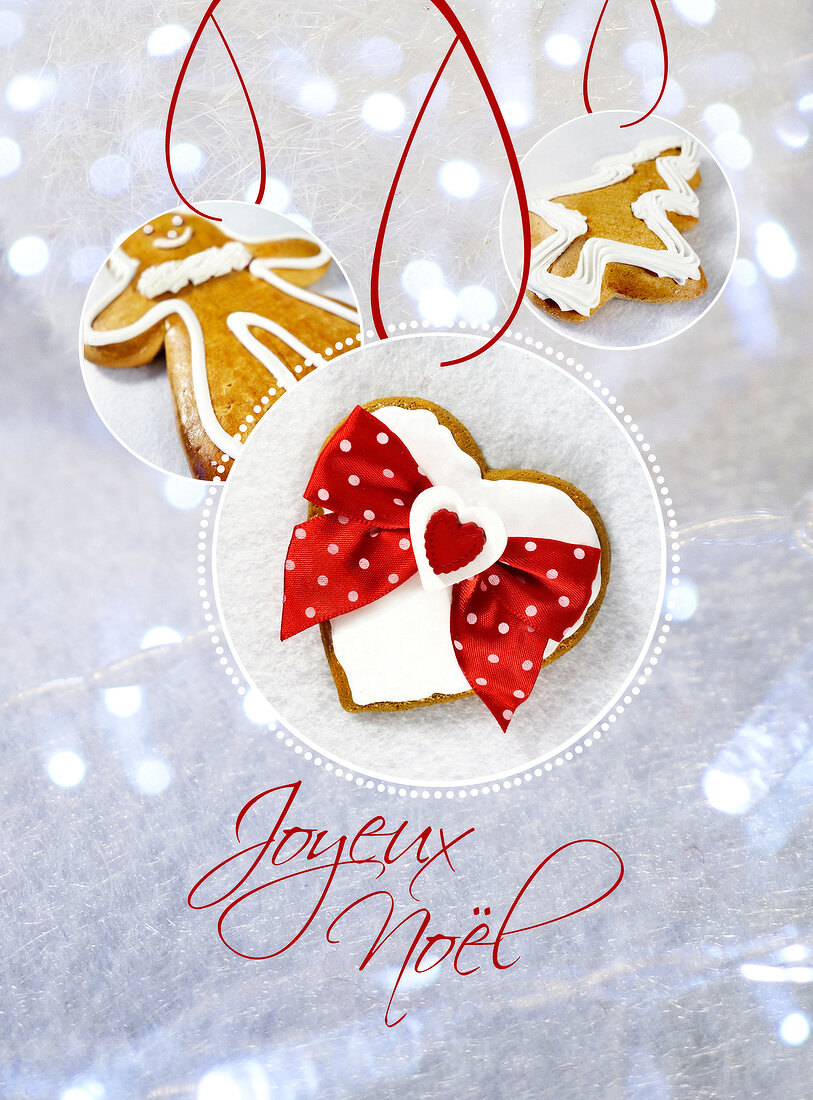 Happy New Year card with a heart,gingerbread man and Christmas tree