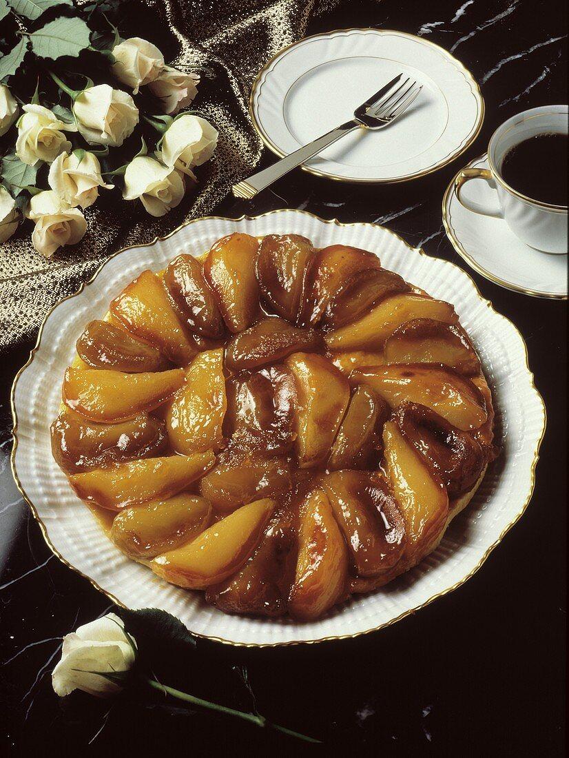 A Whole Glazed Pear Tart