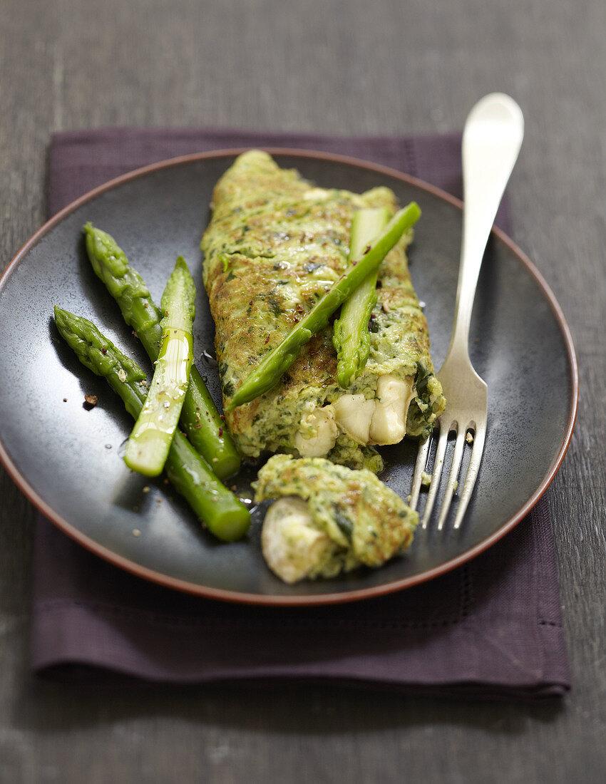Watercress,green asparagus and Crottin de Chavignol omelette
