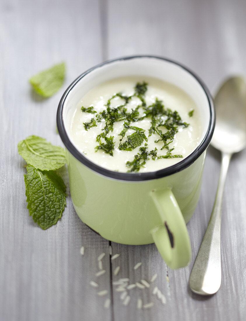 Yayla corbasi,yoghurt and mint soup from Turkey