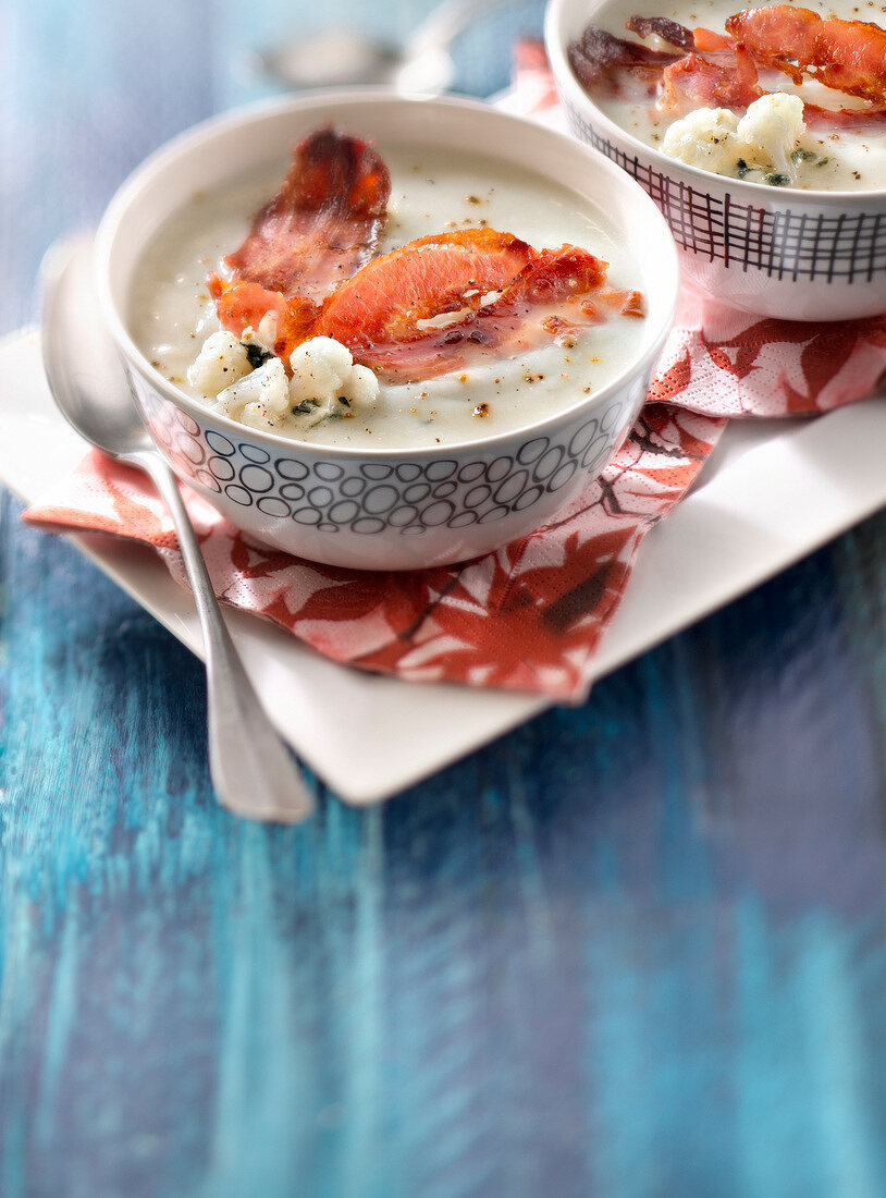 Cream of cauliflower soup with bleu d'Auvergne and bacon tuile