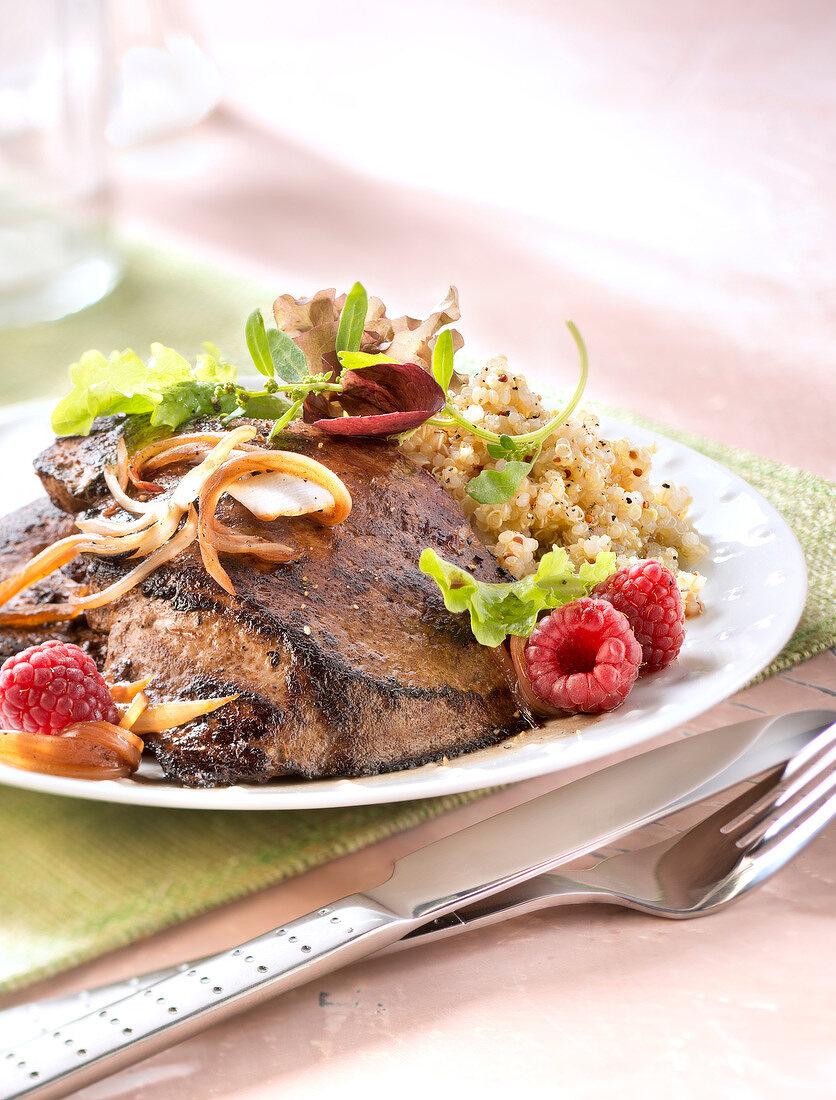 Veal's liver with raspberry vinaigar sauce,quinoa and mesclun warm salad