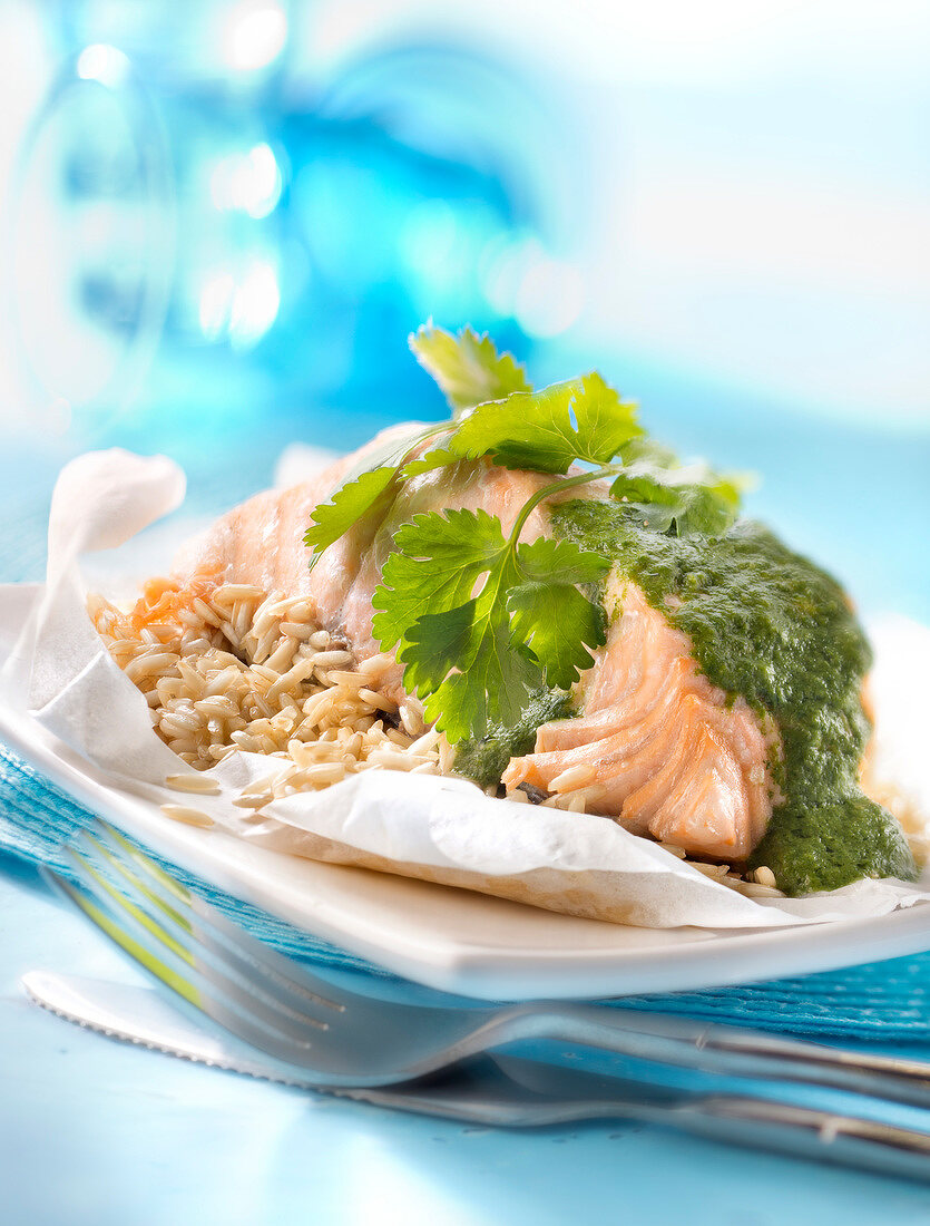 Salmon cooked in wax paper with brown rice and watercress sauce