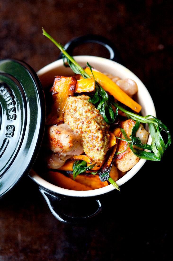 Rabbit,carrot and seedy mustard casserole