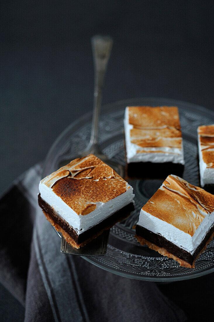 Chocolate,coconut and meringue squares