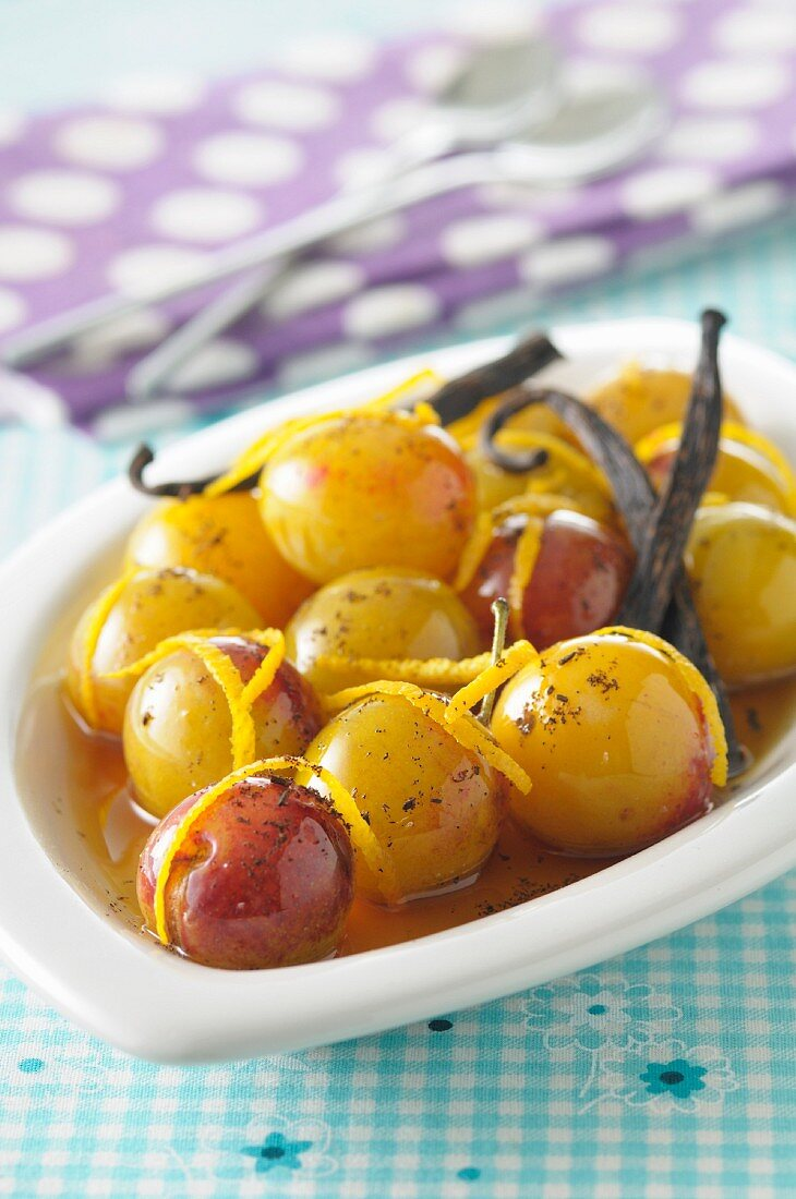 Mirabelle plums with honey,spices and orange zests