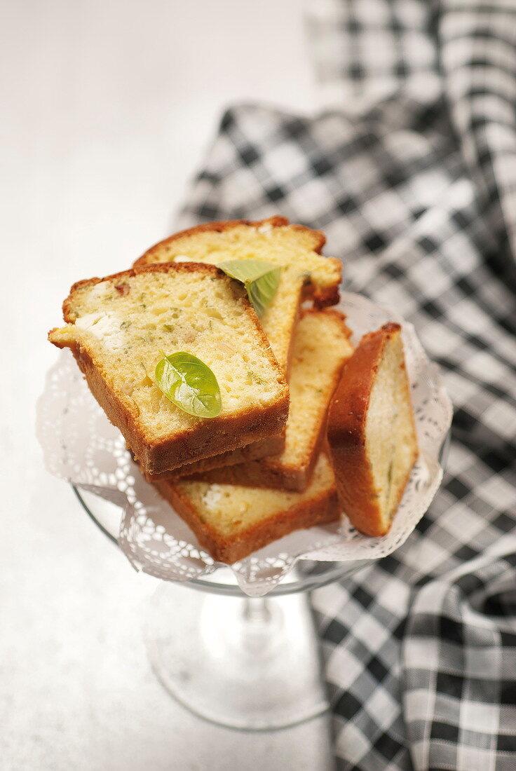 Feta, pine nut and basil cake
