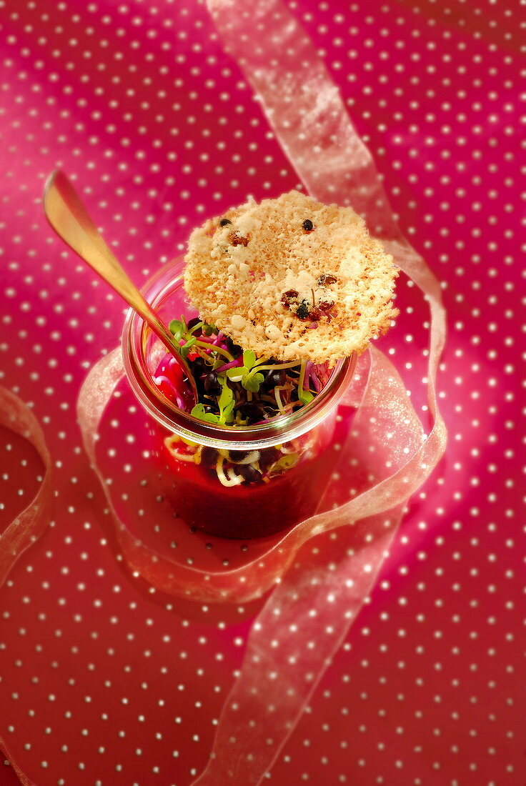 Pureed beetroots with sprouts and a parmesan tuile