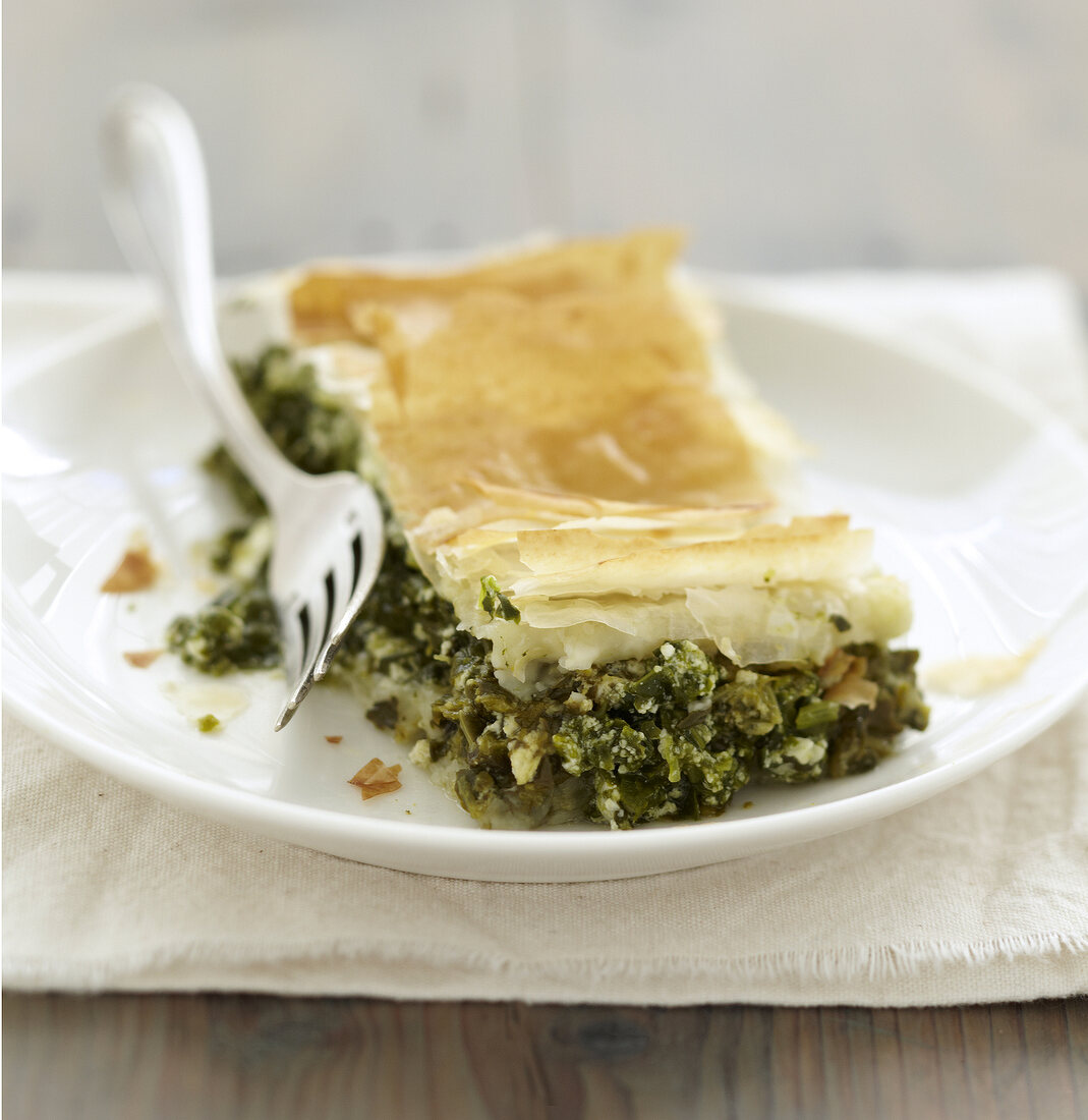 Spinach and Fromage frais flaky pastry pie