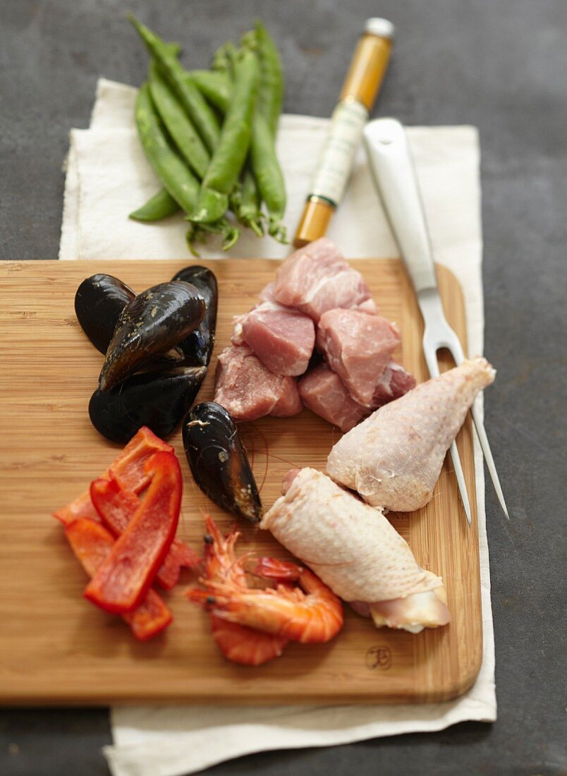 Ingredients for a Paëlla