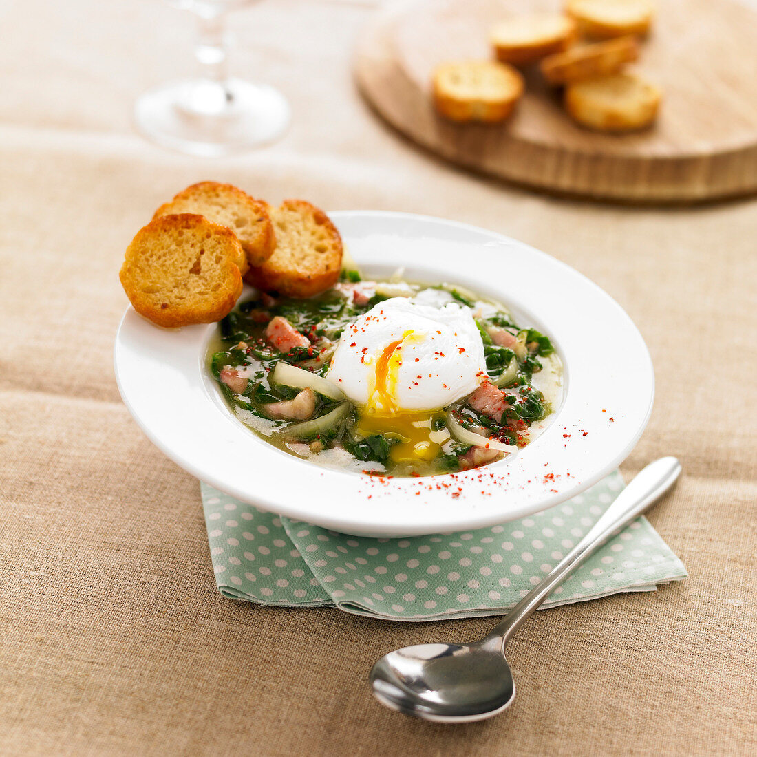 Sorrel Tourain with a soft-boiled egg