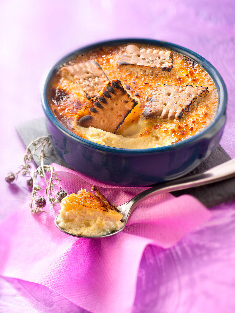 Rich tea biscuit and thyme Crème brûlée