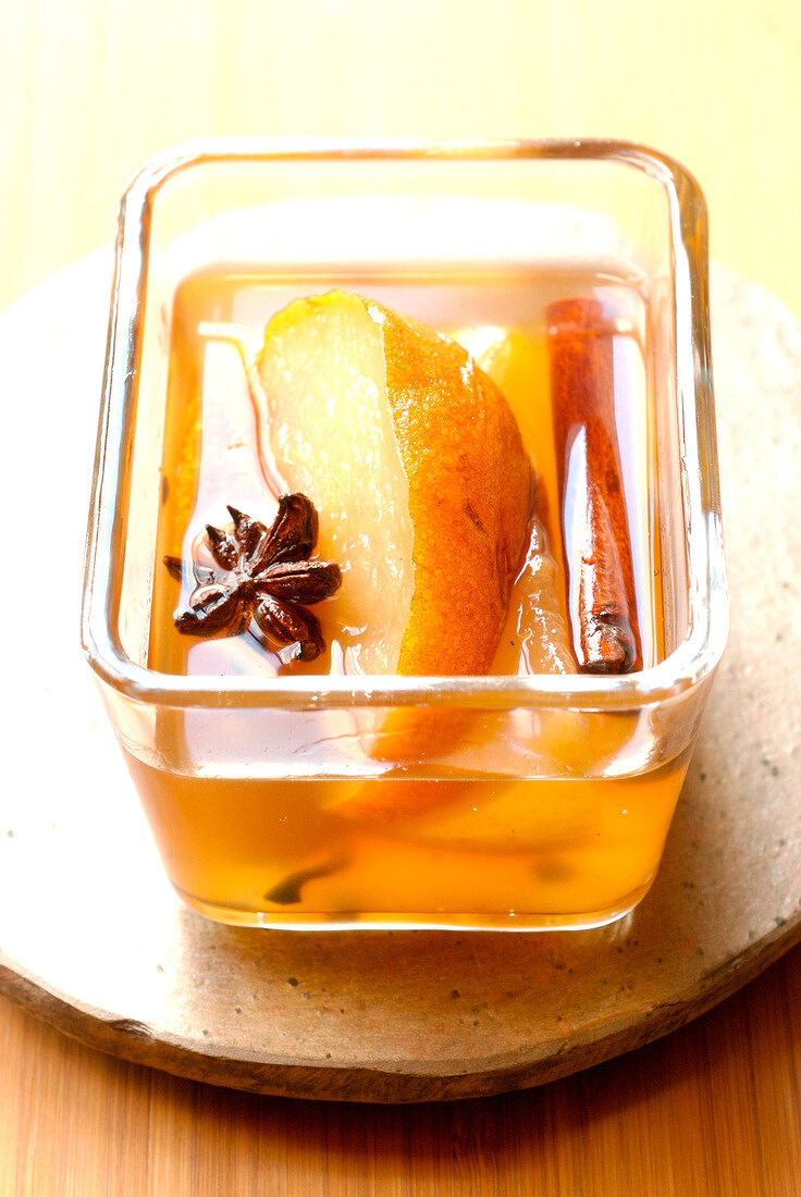 Nashis staewed in wine with star anise and cinnamon