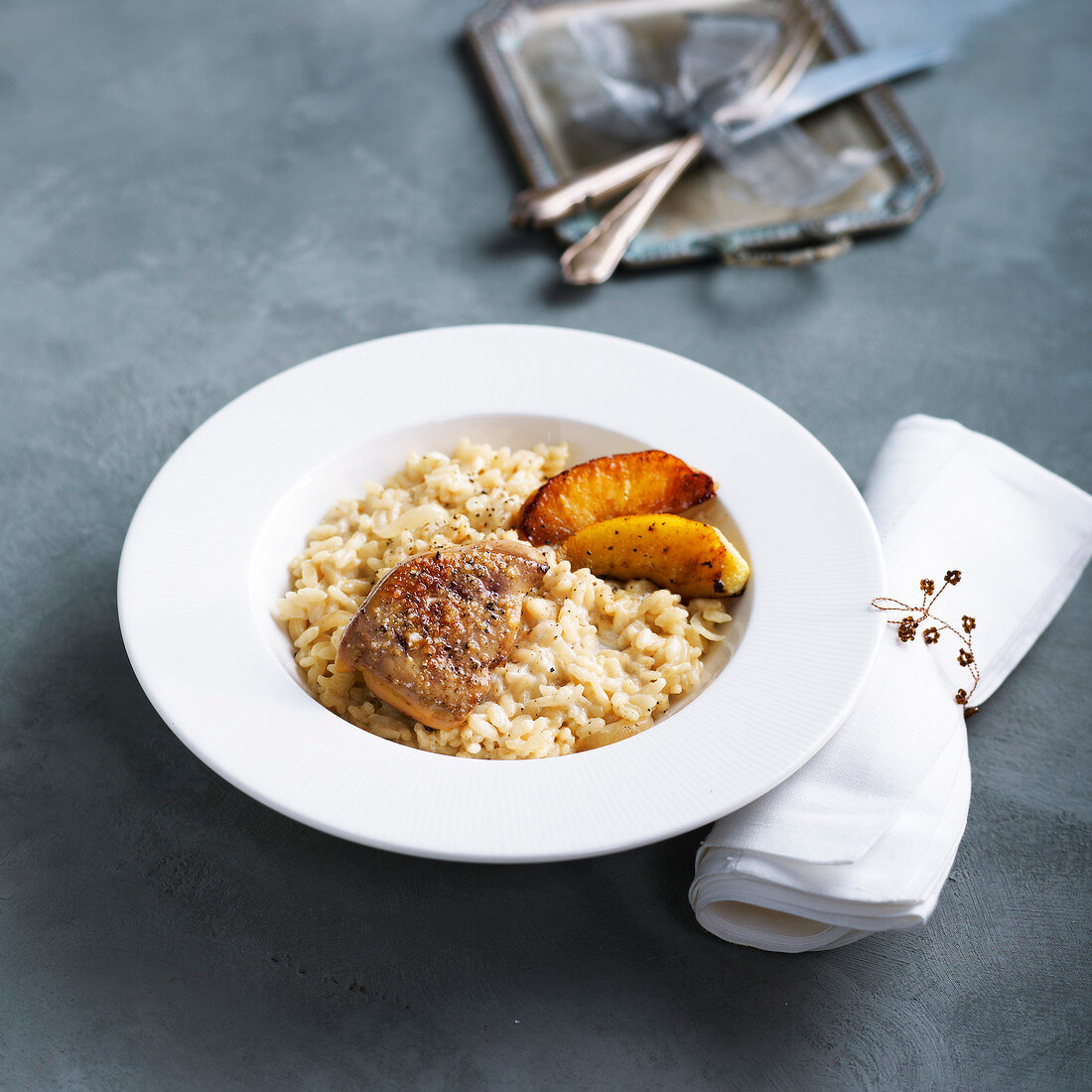 Pan-fried foie gras risotto with roasted apples