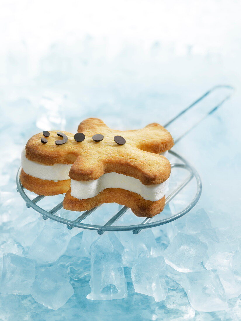 Gingerbread man ice cream sandwich