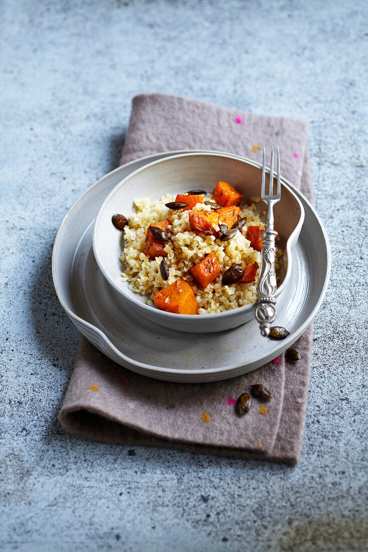 Bulghour with spicy pumpkin