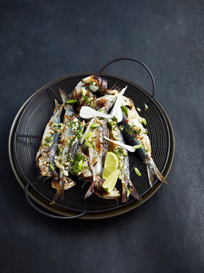 Marinated and grilled sardines