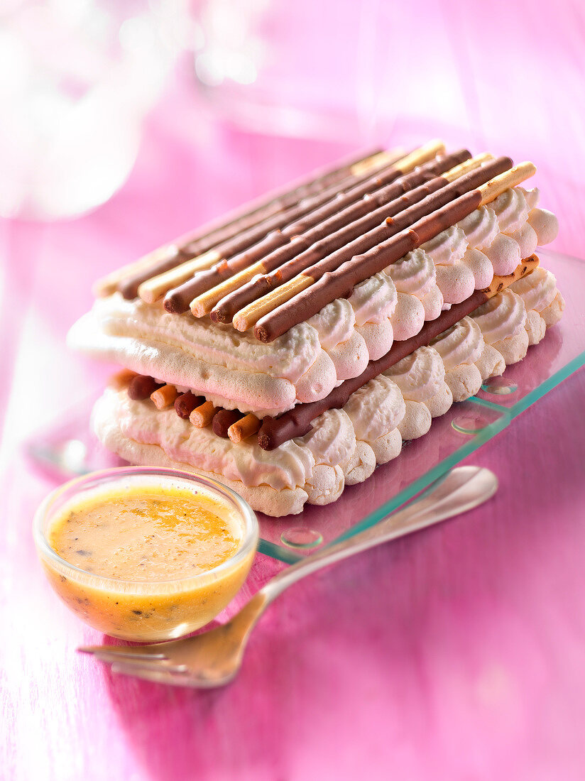 Daim Mikado mille-feuille and whipped cream,passionfruit puree