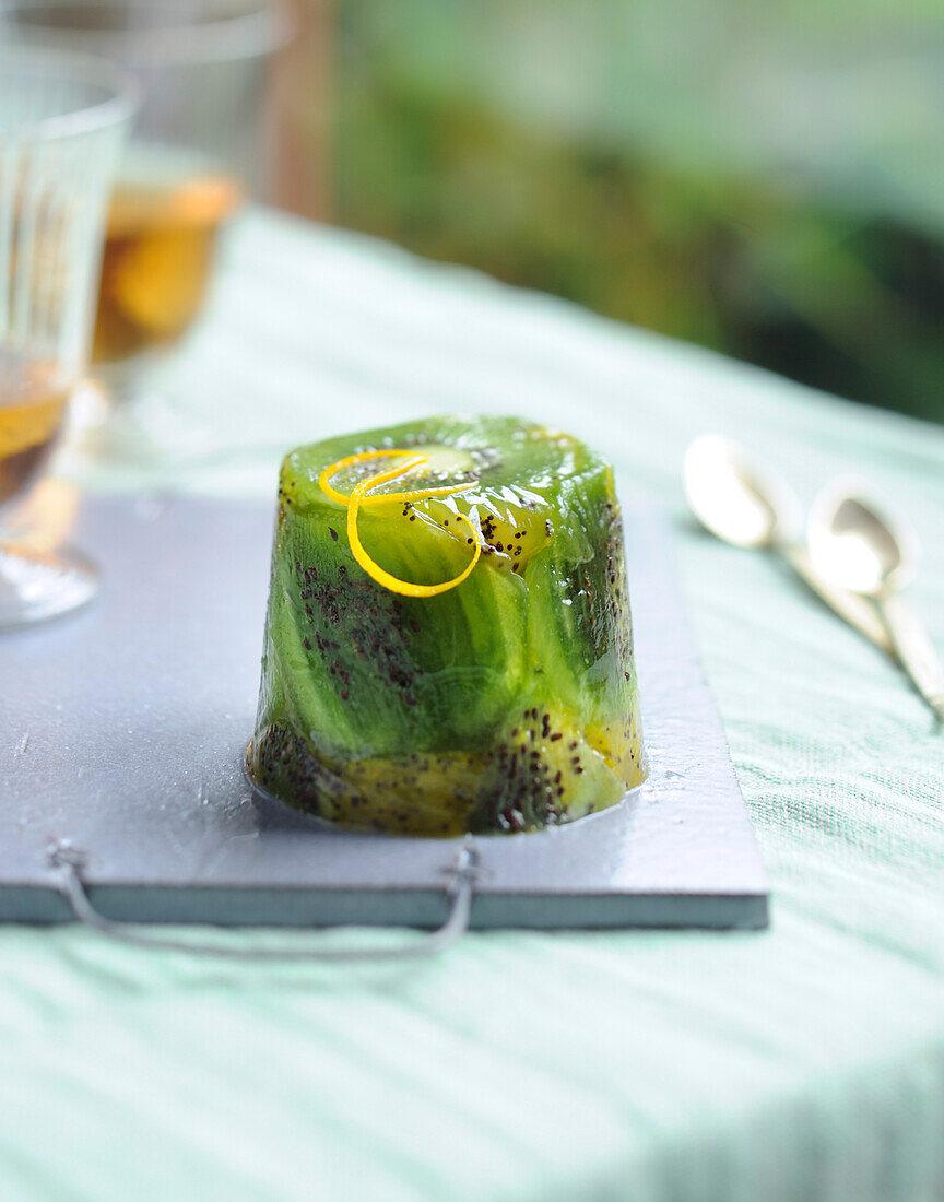 Kiwi and orange zest jelly charlotte
