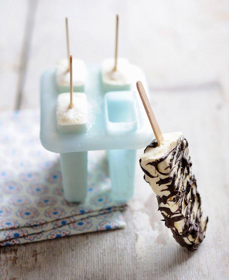 Black and white striped vanilla ice cream bars