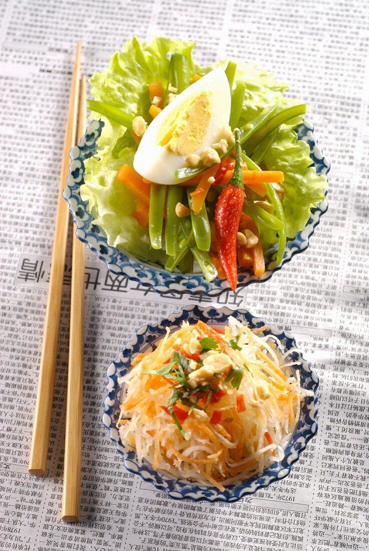 Indonesian-style raw vegetables and green papaya salad