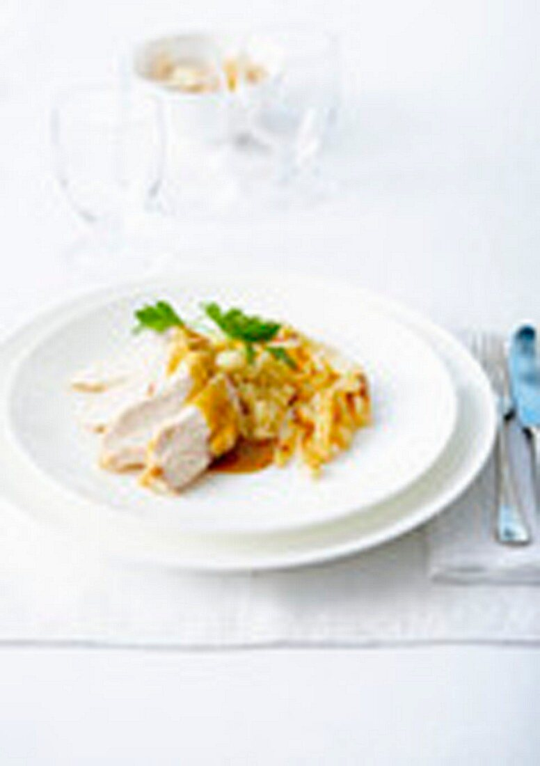 Poulard hen breast in whisky sauce,roasted salsifies and mashed potatoes