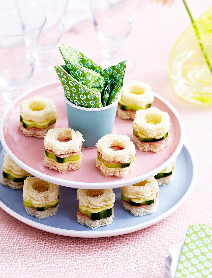 Flower-shaped mini sandwich appetizers