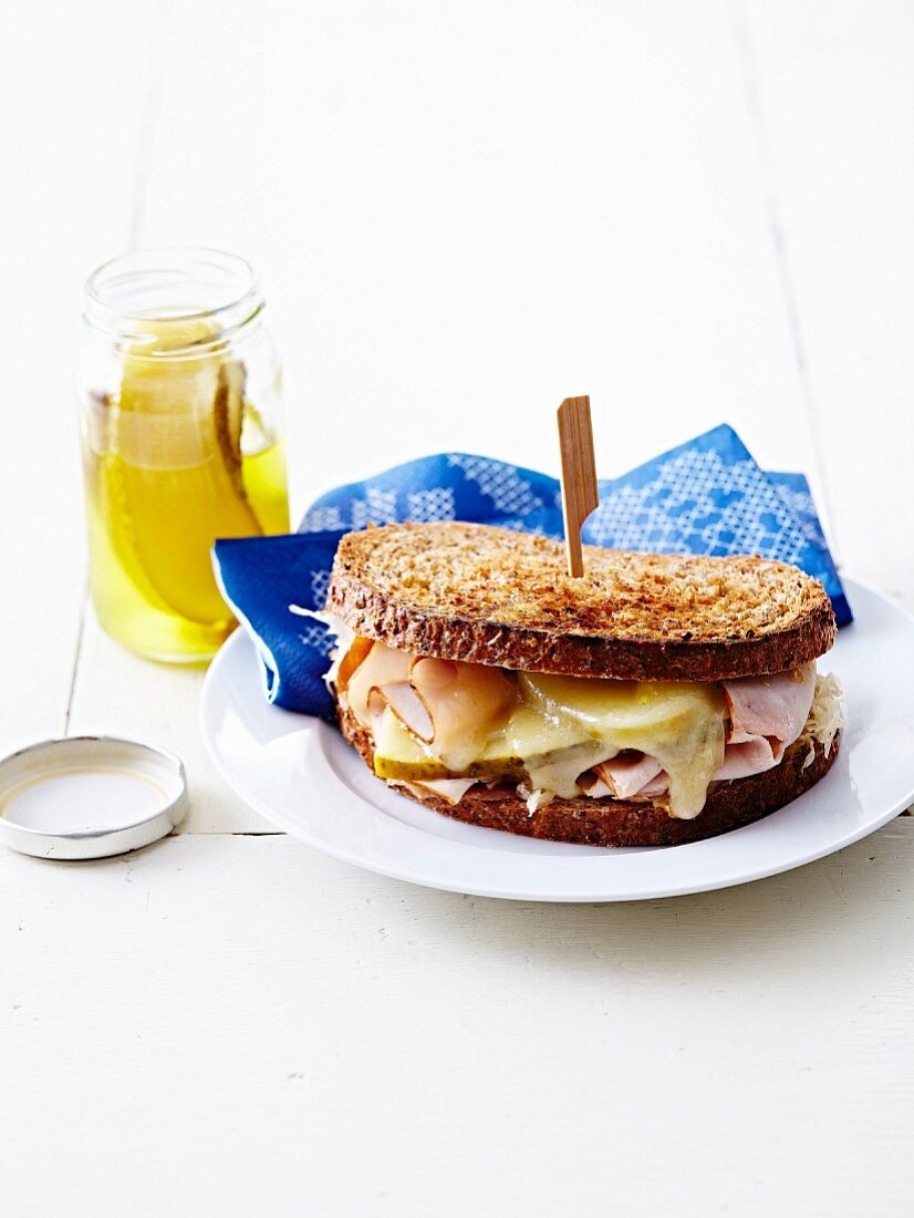 Sauerkraute and Raclette cheese toasted sandwich