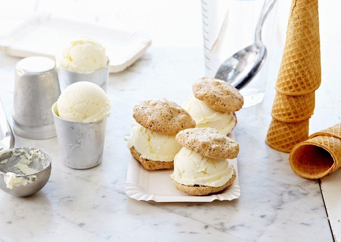 Profiterol-style macaroon and vanilla ice cream sandwich