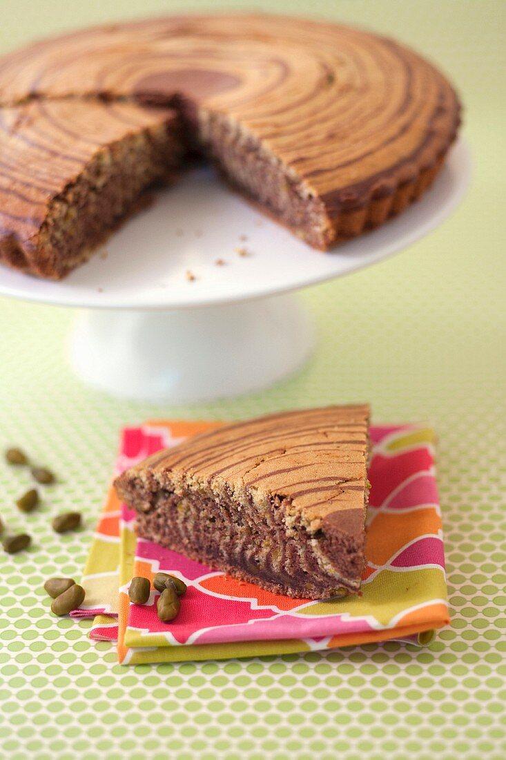 Zebra Cake with Chocolate and Pistachio