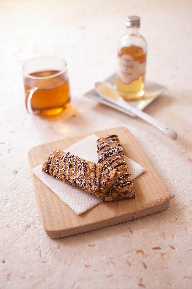 Apple peach,almond and agave syrup oatmeal bars
