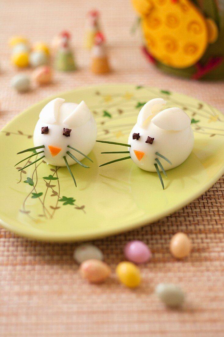Hard-boiled egg bunnies