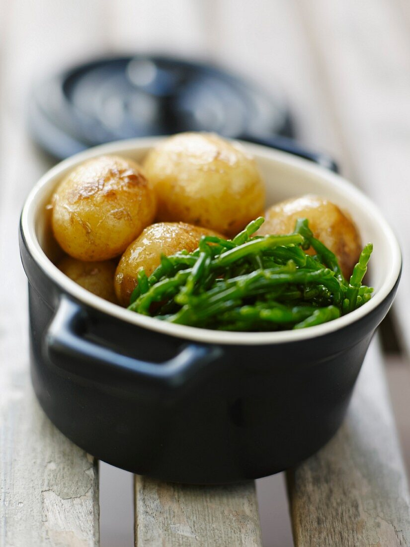 Grenaille potatoes and samphire