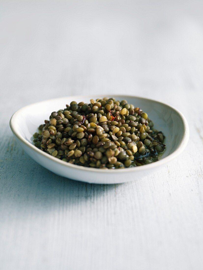 Saffron-flavored lentil salad