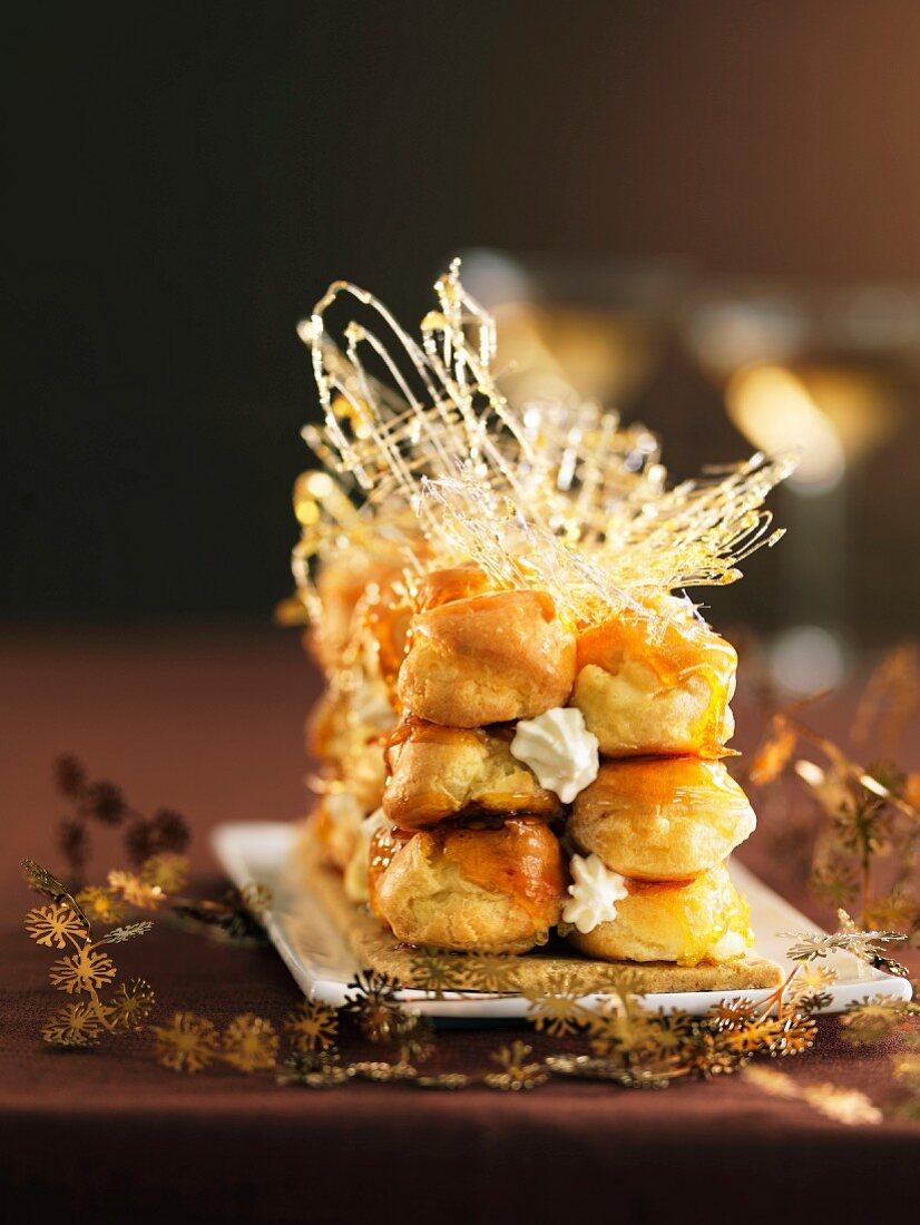 Saint-Honore-style Christmas log cake