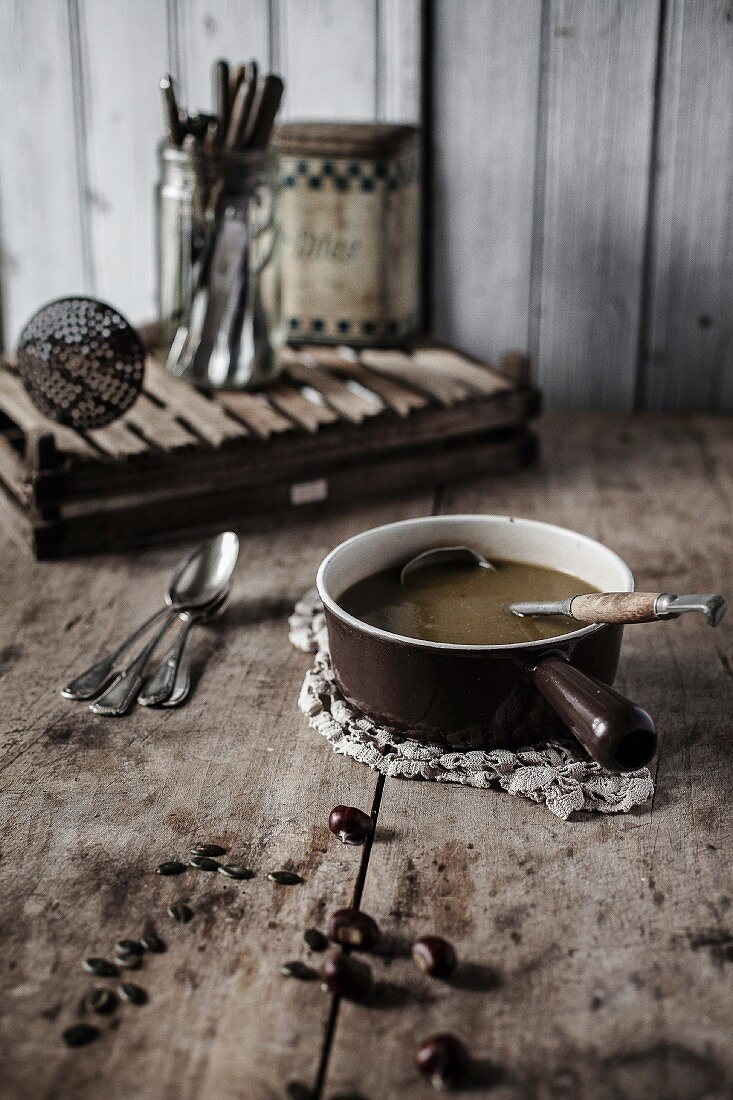 Chestnut and pumpkin seed creamed soup