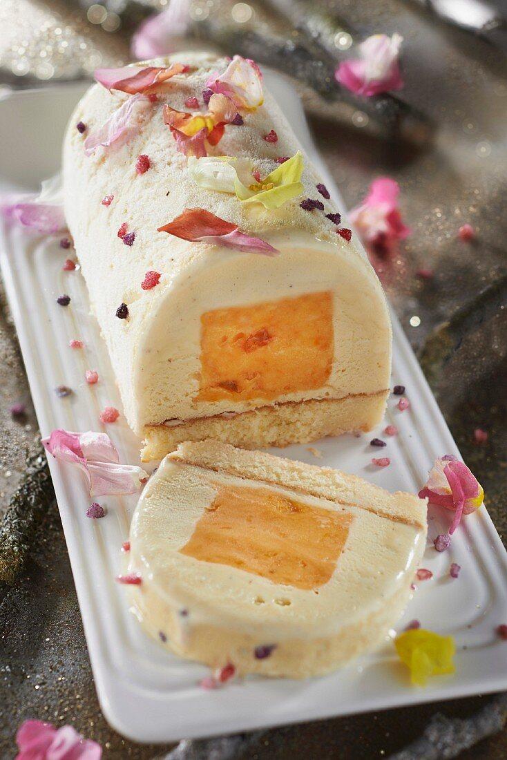 Clementine sorbet and tonka bean ice cream log cake