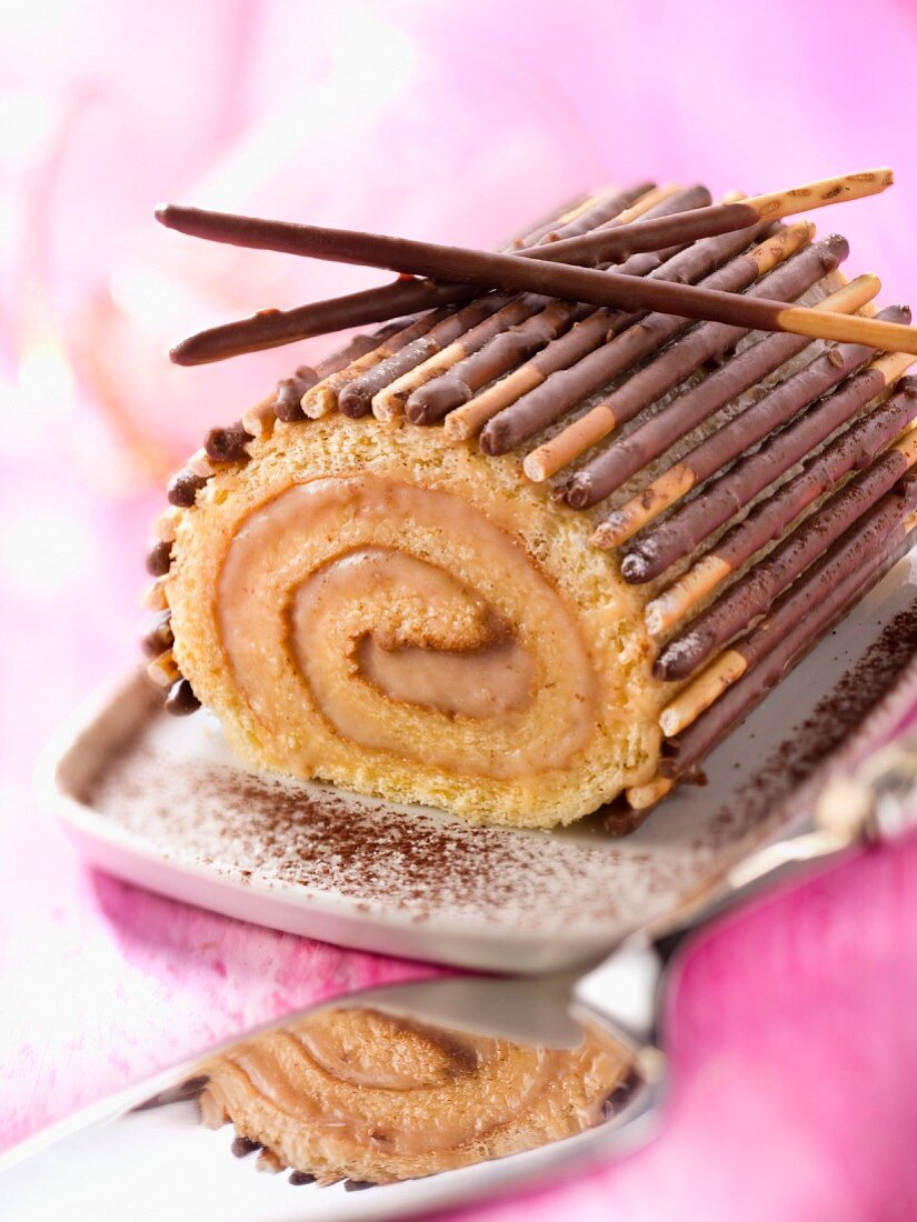 Salted-butter toffee and Mikado log cake
