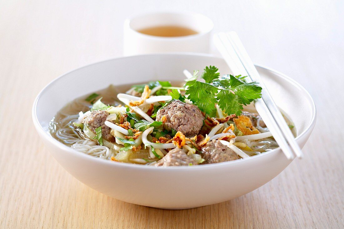 Indonesian noodle and beef meatball soup
