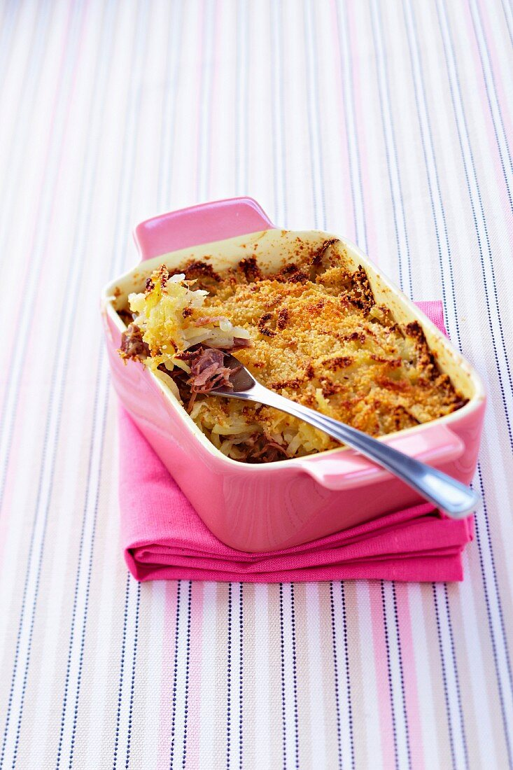 Duck confit,Jerusalem artichoke and turnip shepherd's pie