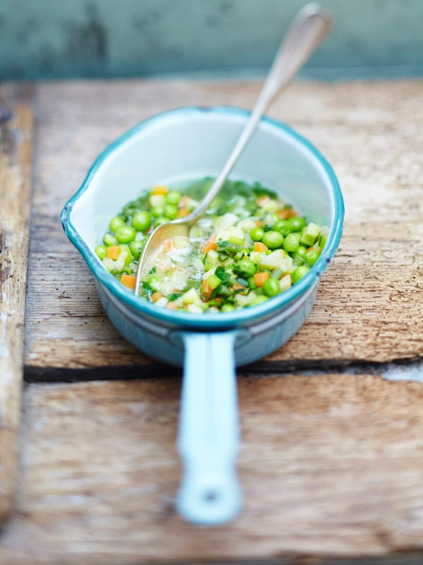 carrot and pea casserole with herbs