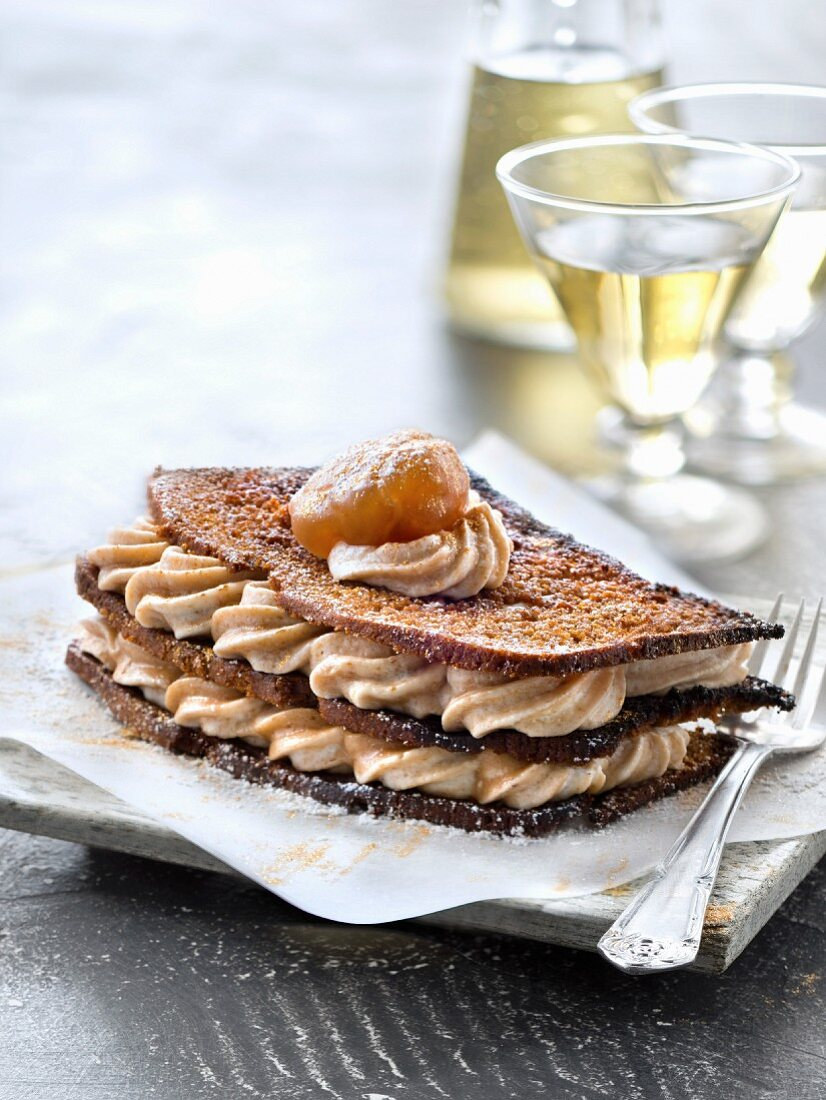 Crispy gingerbread and chestnut and whisky mousse Mille-feuille