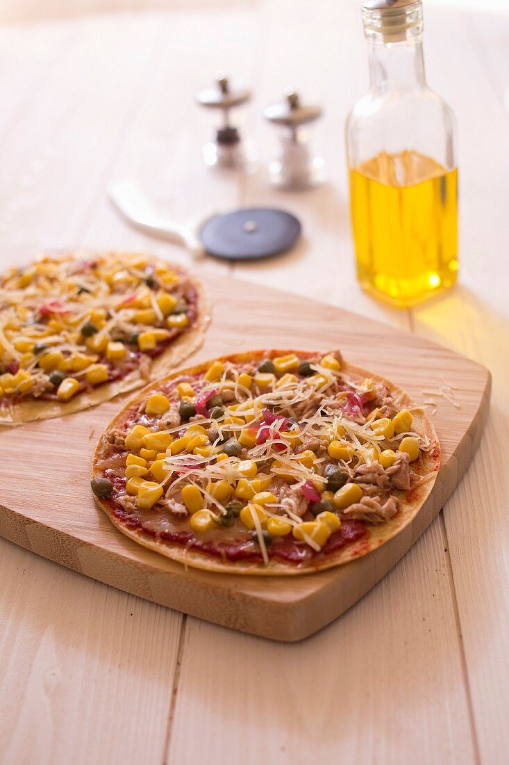 Pizza-style tuna and sweet corn pancakes
