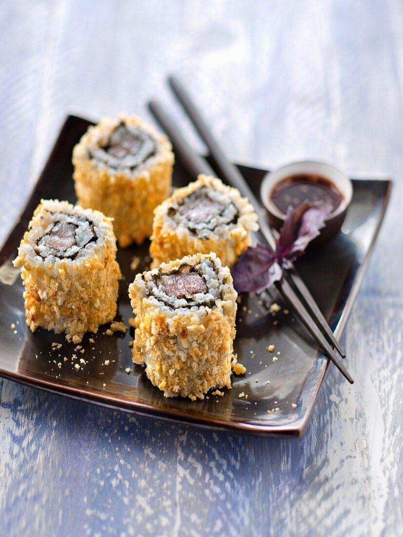 Tuna and Tuc crumb Californian rolls